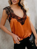 wiccous.com Blouses Orange / S Lace stitching vest