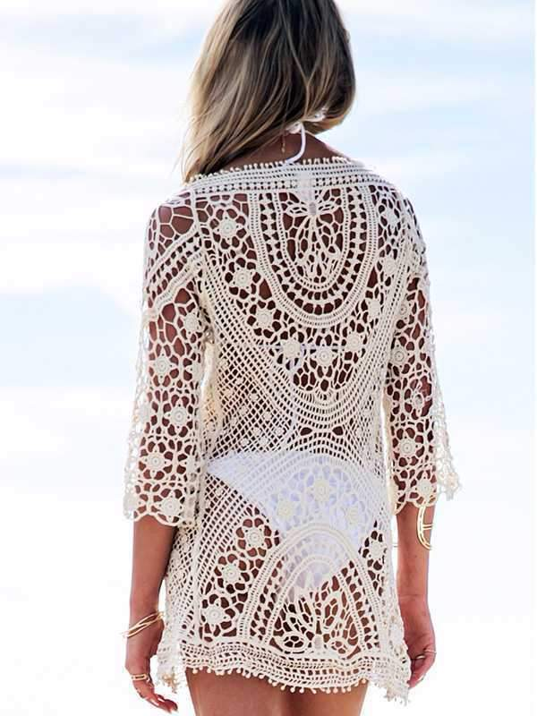 wiccous.com Cover-Ups White / One Size Lace hook flower hollow blouse