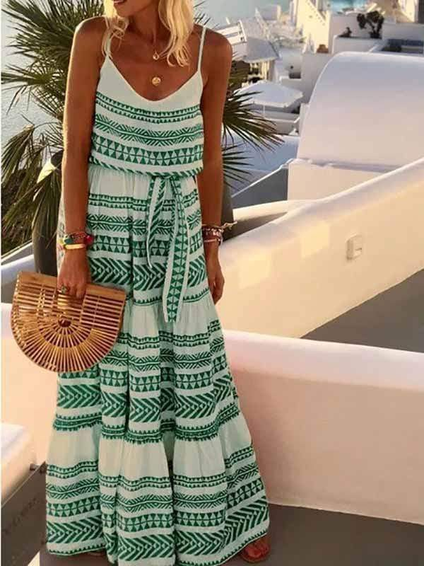 wiccous.com Maxi Dress Green / S Bohemian V-neck Printed Sling Beach Dress
