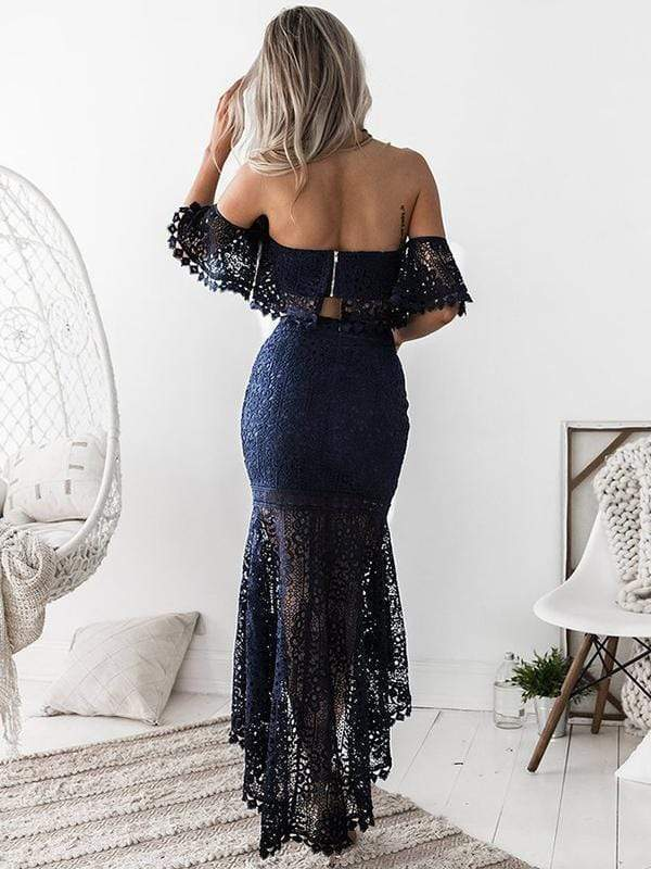 wiccous.com Lace Dress Blue / S Lace tube top backless Fishtail skirt two-piece
