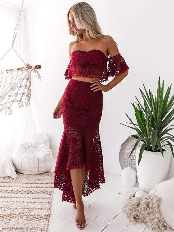 wiccous.com Lace Dress Burgundy / S Lace tube top backless Fishtail skirt two-piece