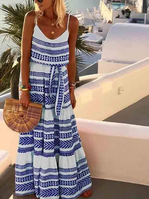 wiccous.com Maxi Dress Blue / S Bohemian V-neck Printed Sling Beach Dress