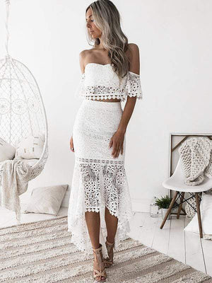 wiccous.com Lace Dress White / S Lace tube top backless Fishtail skirt two-piece