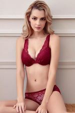 wiccous.com Lingerie Burgundy / 32A Sheer Lace Bra And Panties