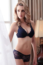 wiccous.com Lingerie Dark Blue / 32A Sheer Lace Bra And Panties