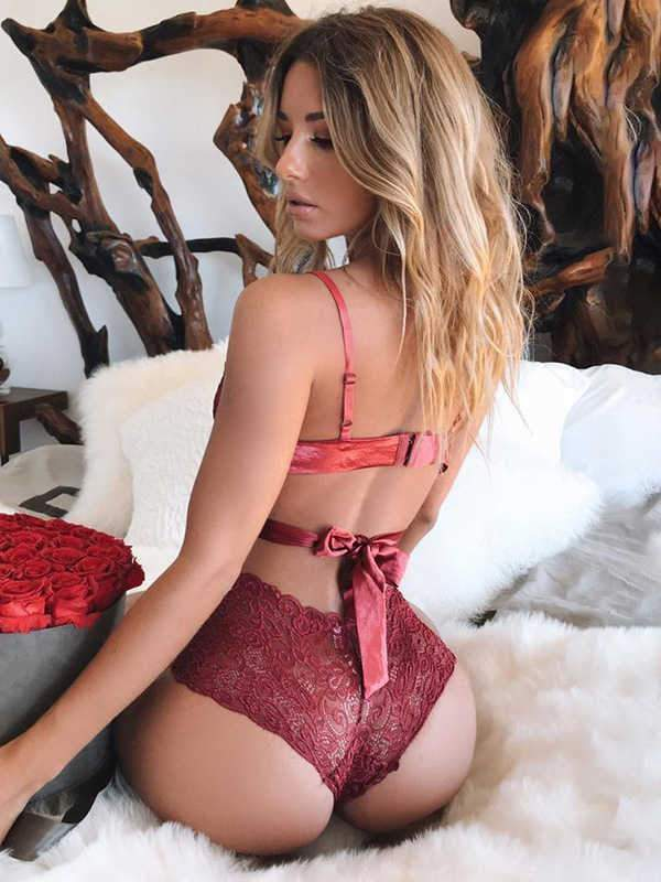 wiccous.com Lingerie Red / S Lace sling strap sexy lingerie set