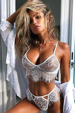 wiccous.com Lingerie White / S Eyelash Lace Bra And Panties Set