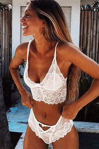 wiccous.com Lingerie White / S Lace Sheer Lingerie Bralette And Panty Set