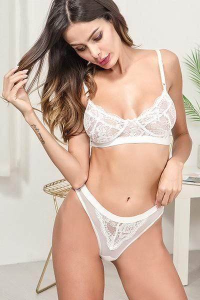wiccous.com Lingerie White / S Sheer Floral Lace Bra And Panty Lingerie Set
