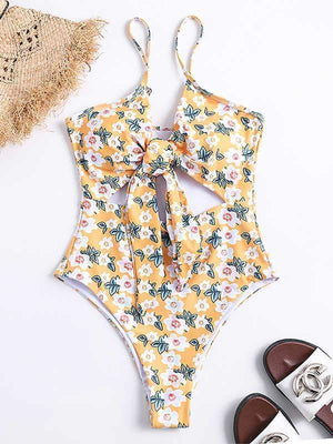 wiccous.com One-Piece Snake print / S Serpentine chest knotted one-piece swimsuit