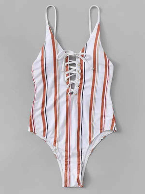 wiccous.com One-Piece Stripe / S Striped Lace-Up Backless One-Piece Swimsuit