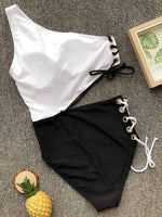 wiccous.com One-Piece Black&White / S Cross-shoulder button-down bikini
