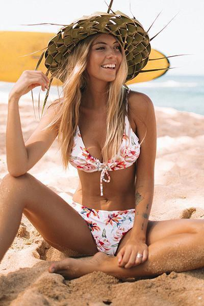 wiccous.com Bikini S Floral and Striped Reversible Bikini