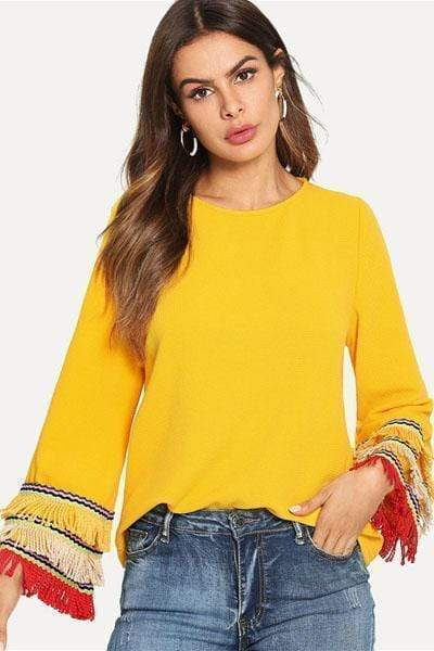 wiccous.com Tops S Tassel Wild Color Long Sleeves Tops