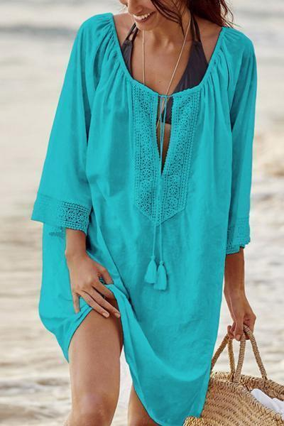 wiccous.com Tops Blue / One Size Openwork Stitching Beach Cover