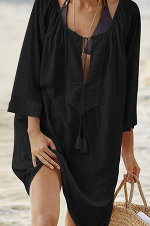 wiccous.com Tops Black / One Size Openwork Stitching Beach Cover