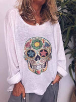 wiccous.com Plus Size Tops Casual Bone Print Long Sleeve T-Shirt