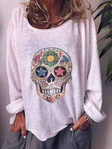 wiccous.com Plus Size Tops White / S Casual Bone Print Long Sleeve T-Shirt
