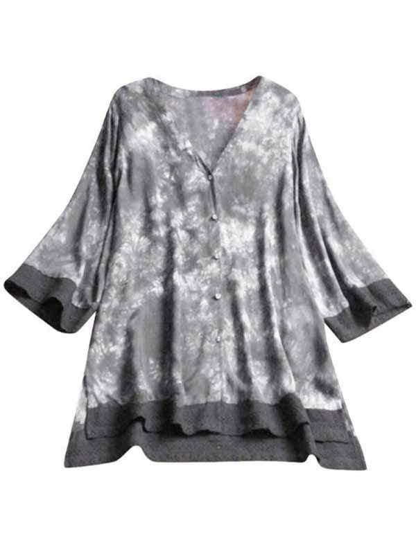 wiccous.com Plus Size Tops Black ash / L Plus size lace v-neck half-sleeve chiffon shirt