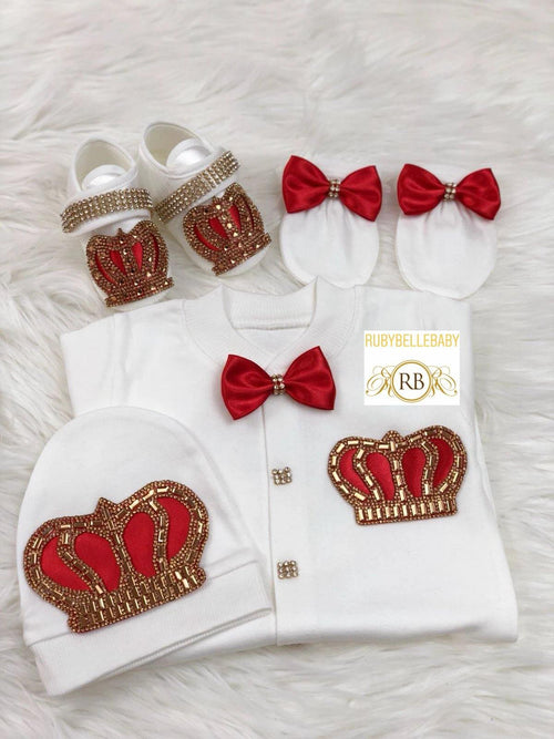 4pcs Prince Set Red and Gold - RUBYBELLEBABY