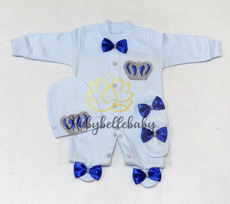 3pcs Light Blue Prince Set Royal Blue and Silver - RUBYBELLEBABY