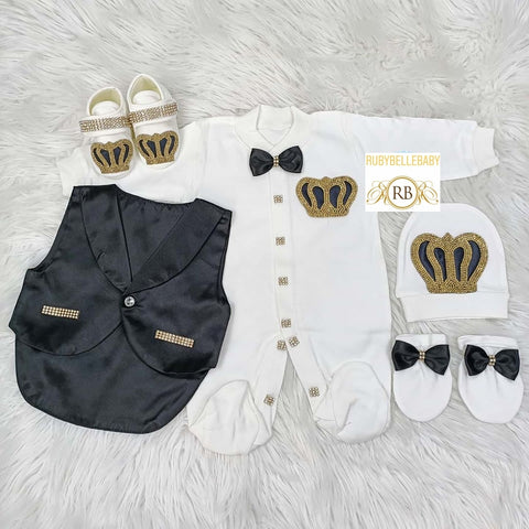 5pcs Baby Prince Tux Set - Black and Silver/ Black and Gold - RUBYBELLEBABY