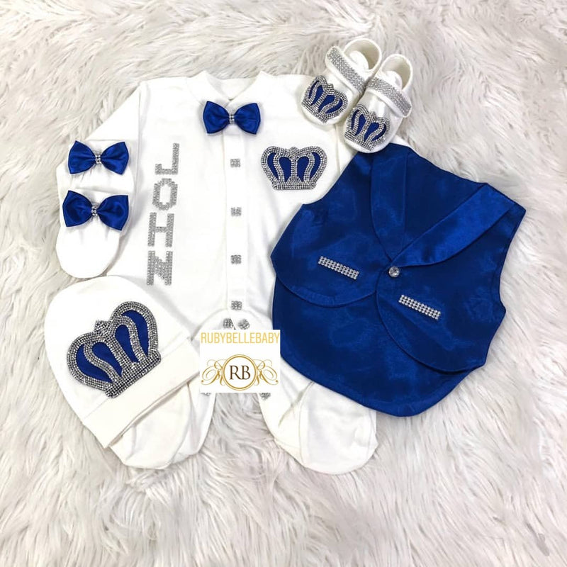5pcs Baby Prince Tux Set - Royal Blue and Silver - RUBYBELLEBABY