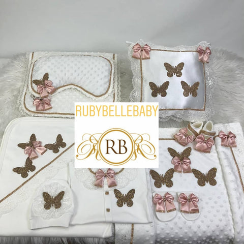 8pcs Butterfly Layette and Pillow Princess Set - Blush - RUBYBELLEBABY