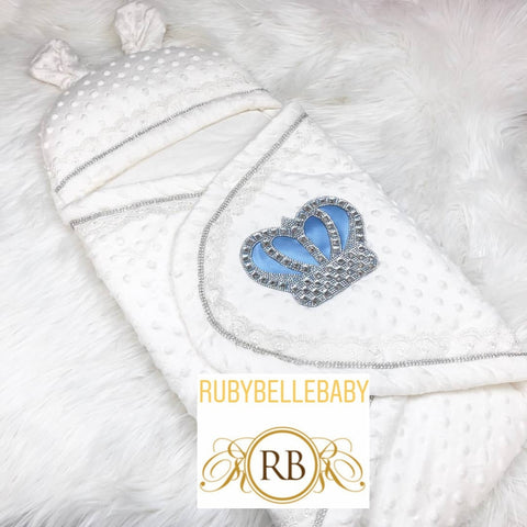 Rubybellebaby Prince Bling Crown Bubble Swaddle Blanket - Light Blue/Silver and Light Blue/Gold