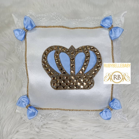 Prince Customisable Crown Pillow - Blue/Gold - RUBYBELLEBABY