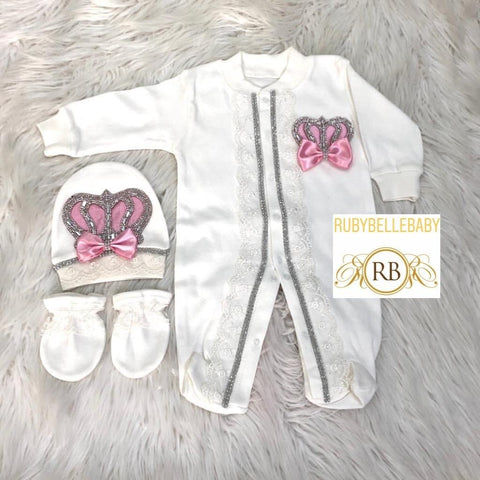 3pcs Princess Set Pink and silver - RUBYBELLEBABY