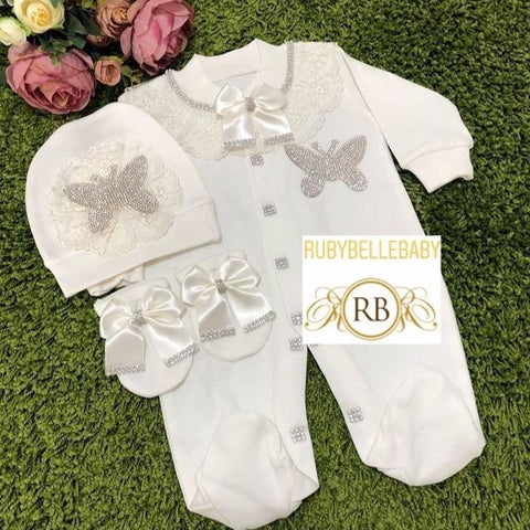3pcs Butterfly Princess Set white and silver - RUBYBELLEBABY