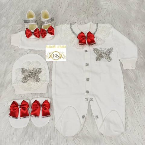 4pcs Butterfly Princess Set - White/Red - RUBYBELLEBABY