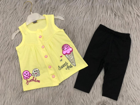 Sweet love yellow 2pcs Toddler Girl Top and Pant Play  Set