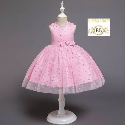 Sparkly Sparkle Pink Ball Gown Party Birthday Princess Cake Tea Party Girl Dress