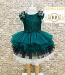Emerald Green Tri Layered Ruffle Tea Party Birthday Cake Rose Shoulder Girl Dress
