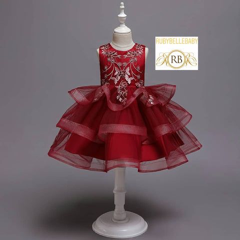 Red Vintage Kids Party Frock Birthday Dress