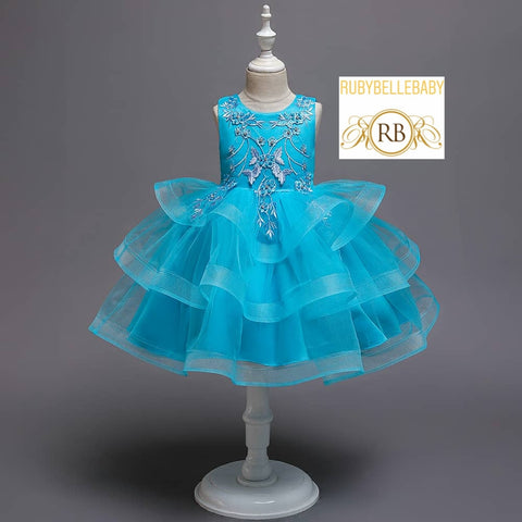 Blue Vintage Kids Party Frock Birthday Dress
