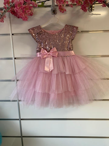 Light Pink Sequin Bow Ruffle Tea Party Birthday Cake Girl Dress