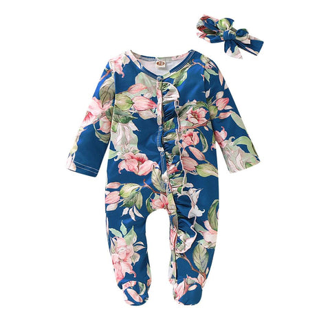 Blue Floral Print Footed Organic Infant Newborn Baby Sleep and Play onesie and Headband