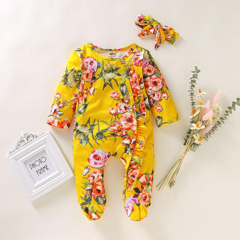 Mustard Floral Print Footed Organic Infant Newborn Baby Sleep and Play Onesie and Headband