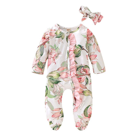 Pink Floral Print Footed Organic Infant Newborn Baby Sleep and Play onesie and Headband