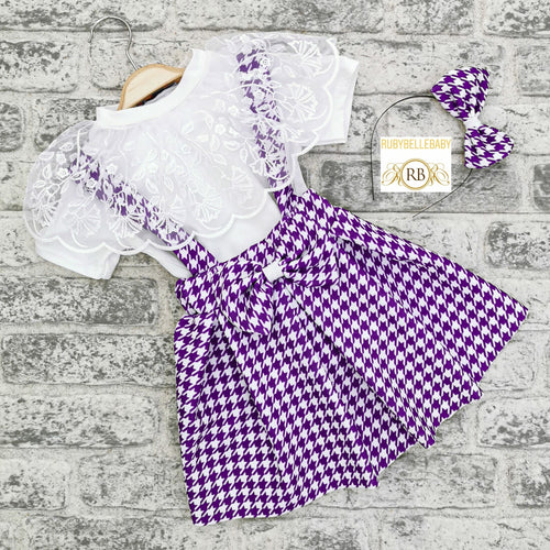 2pcs Plaid Skirt Set with Hair band - RUBYBELLEBABY