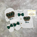 3pcs Embriodery Prince HRH Crown Set - Emerald Green/Gold - RUBYBELLEBABY