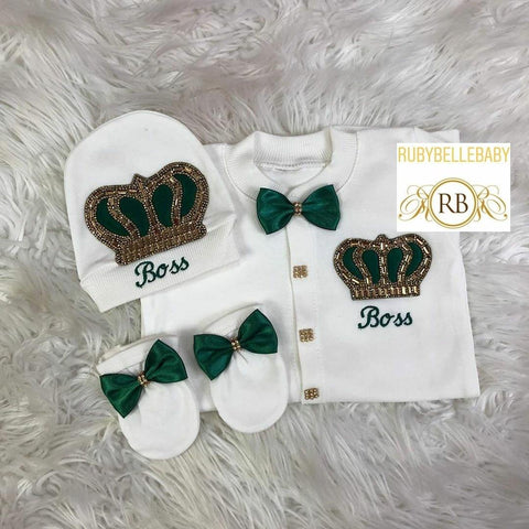 3pcs Embriodery Prince HRH Crown Set - Emerald Green/Gold