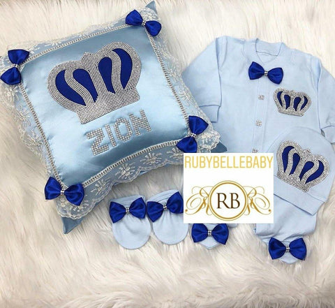 3pcs HRH Crown Prince set with Pillow Set - Blue