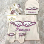 4pcs Embroidery Angel Wings Princess Set - Lavender