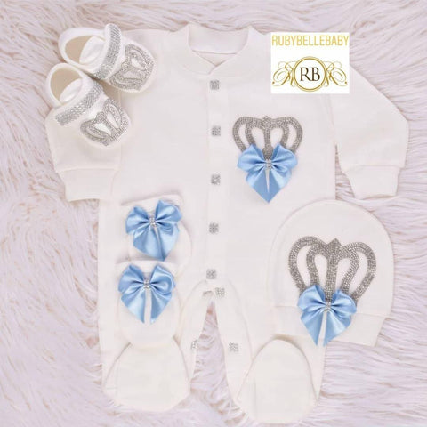 4pcs Big Bow Prince Set Light Blue and Silver
