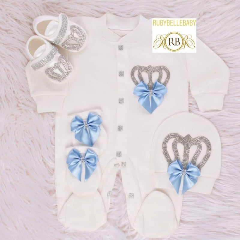 4pcs Big Bow Prince Set Light Blue and Silver - RUBYBELLEBABY