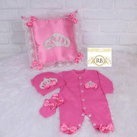 4pcs Princess Pillow Set - Hotpink/Fuschia